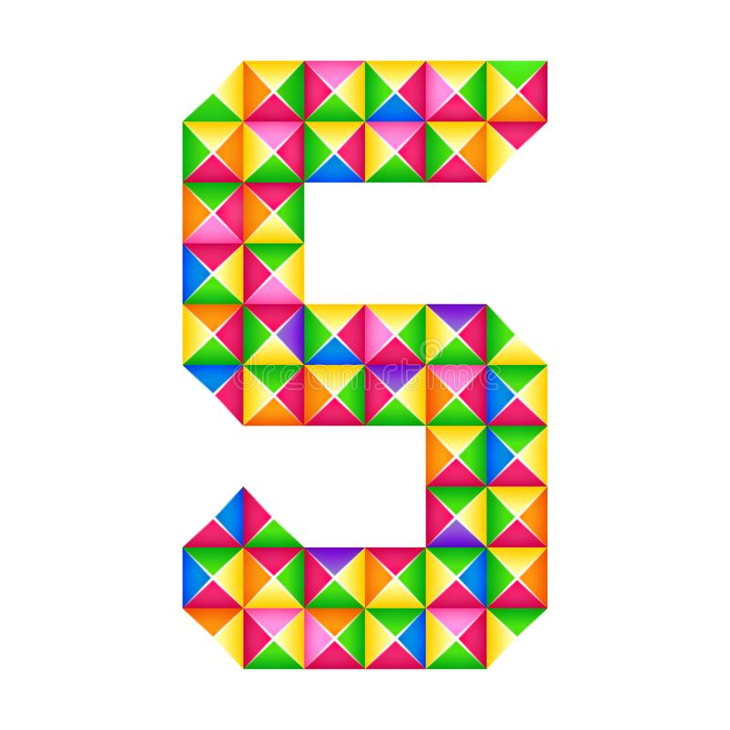 Origami nummer 5 vijfde Realistisch 3D geïsoleerd origamieffect Cijfer van alfabet, cijfer vector illustratie