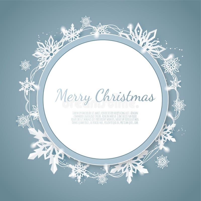 Origami opad śniegu Wesoło bożych narodzeń powitań karta Białego papieru rżnięty śnieżny płatek ilustracji