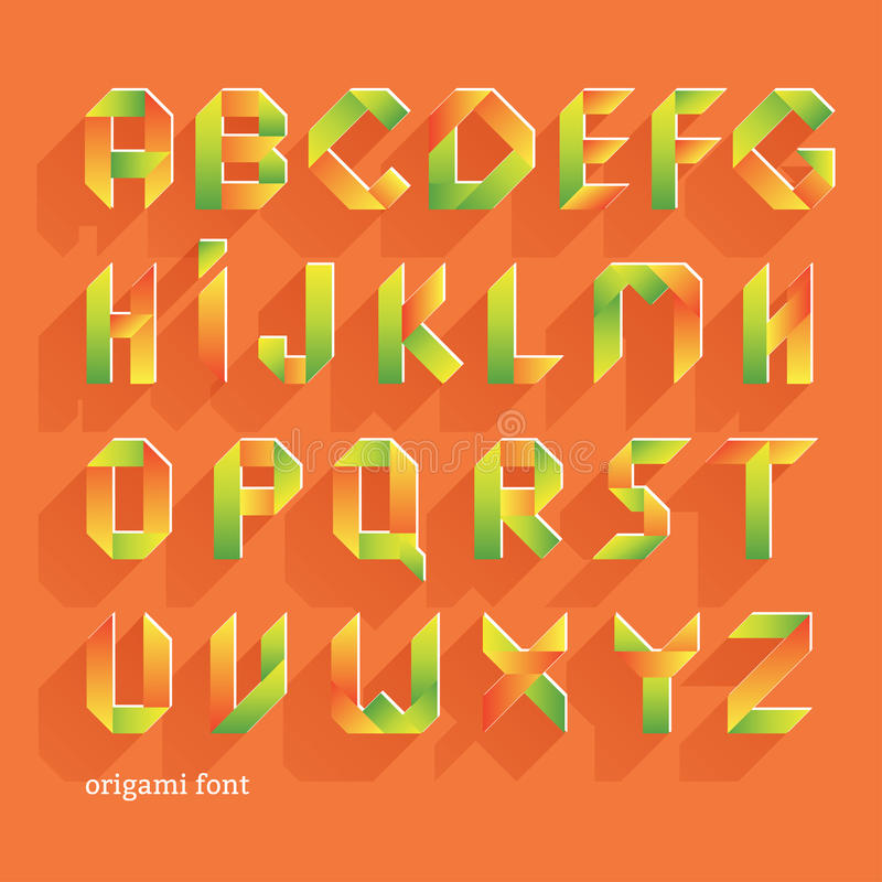 Download Origami Orange Flat Font Vector Alphabet Set Latin Letters Stock