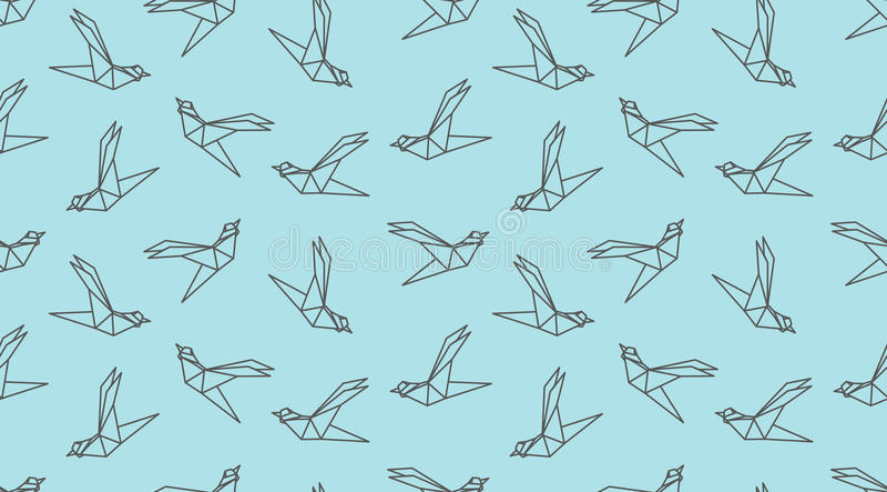 Origami outline bird seamless pattern. vector illustration