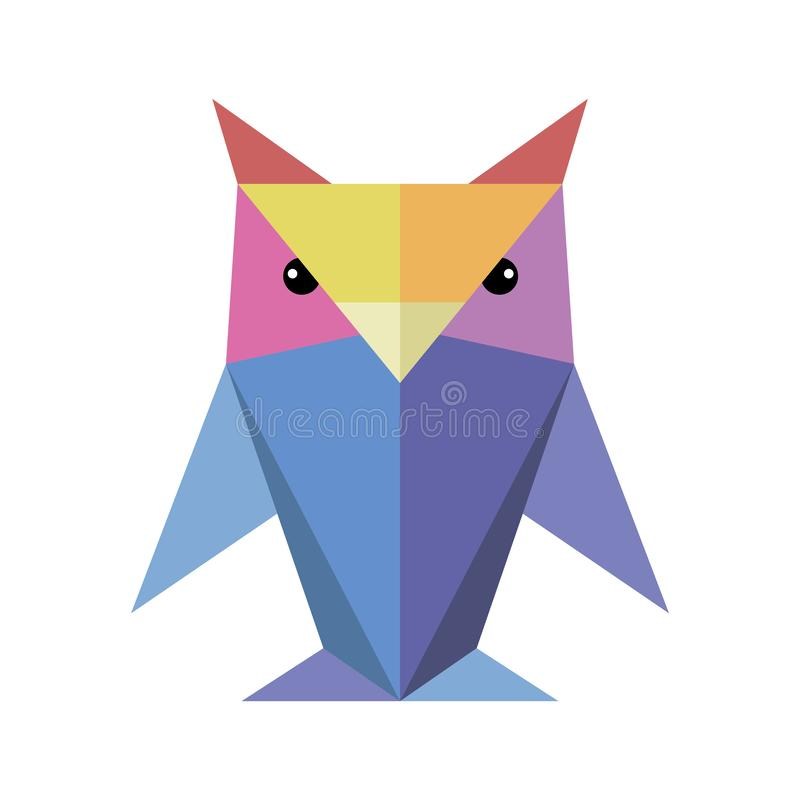 Origami owl of different colors. On a white background vector illustration