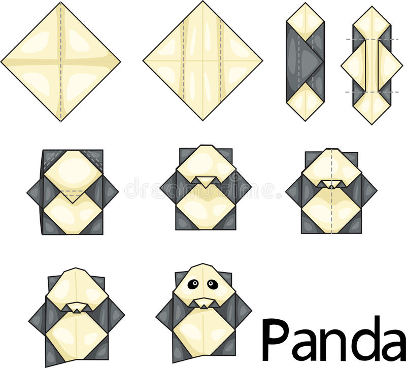 Origami panda. Illustrator of origami with panda stock illustration
