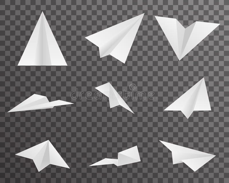 Origami Paper Airplanes Icons Set Symbol Transparent Background Design Vector Illustration royalty free illustration