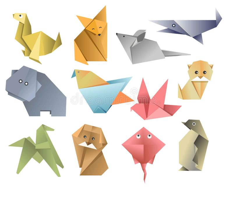 Origami paper animals asian art or hobby folded sheets. Asian art or hobby origami paper animals folded sheets vector seal and fox mouse and whale hippo and bird stock illustration