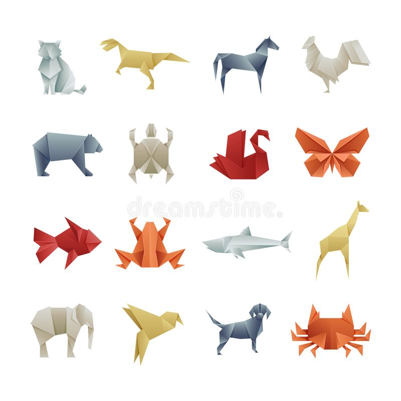 Origami paper animals asian creative vector art. Origami japan animal butterfly and bear, turtle and giraffe illustration vector illustration