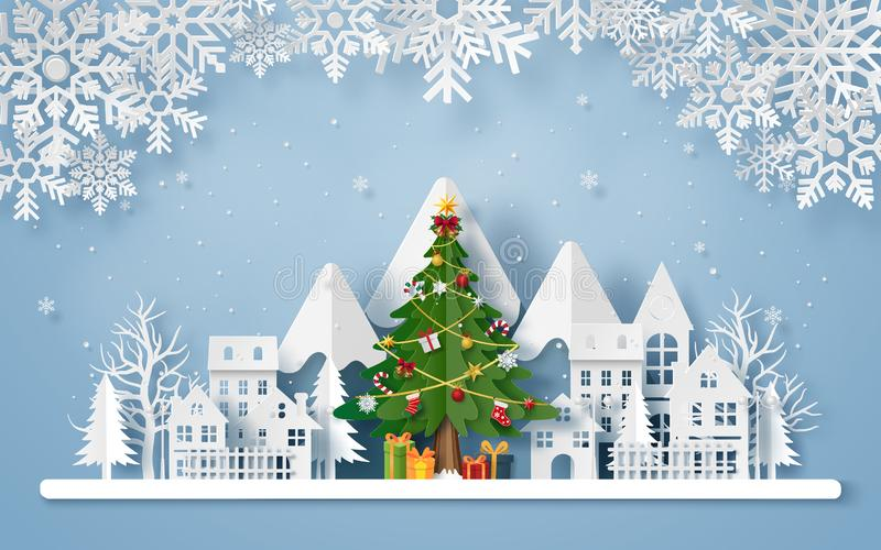 Origami paper art of Christmas tree in the village with the mountain vector illustration