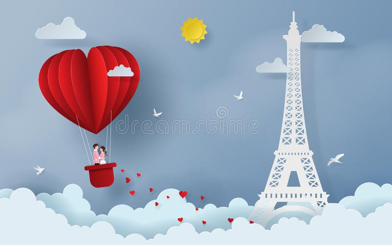Origami Paper art of Cute couple on red heart shaped balloon on the sky with Eiffel tower. Love and Happy Valentine`s Day royalty free illustration