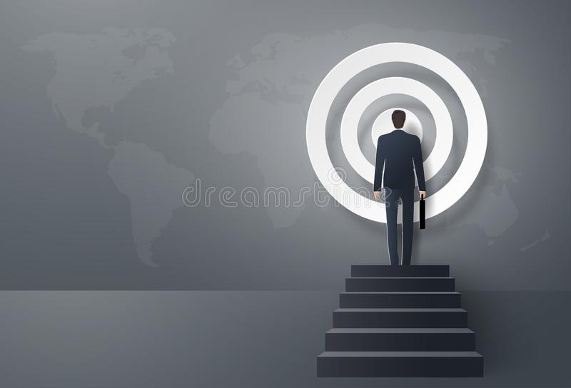 Start-Up Business concept, Businessman step forward to the target, to be success royalty free illustration
