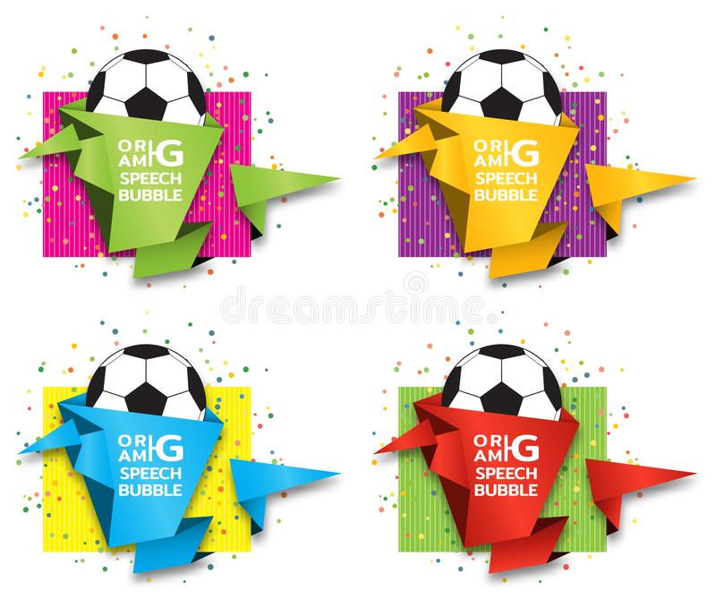 Origami paper banner on football theme. Sale banner set template design. Special offer. Discount tag, badge, emblem. Web stickers. Price tag template for royalty free illustration