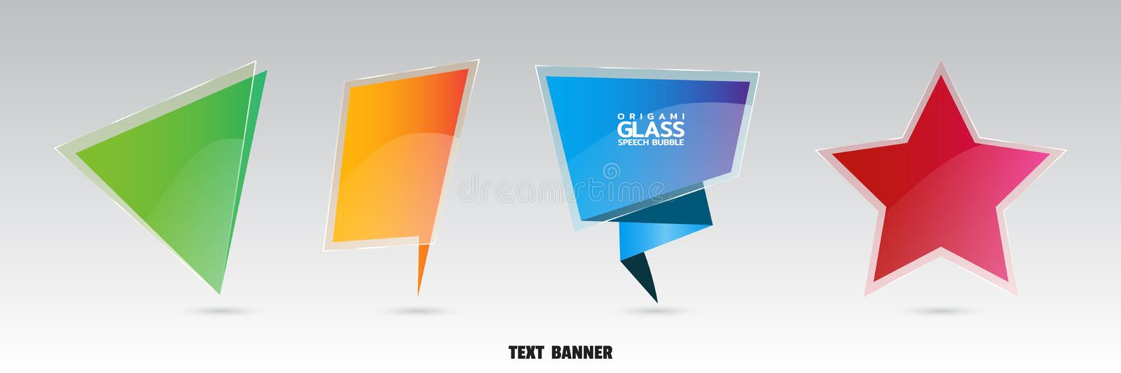 Origami paper banner with glossy glass effect. Set of web banners for sales and promotions. Dialogue banner for message stock illustration