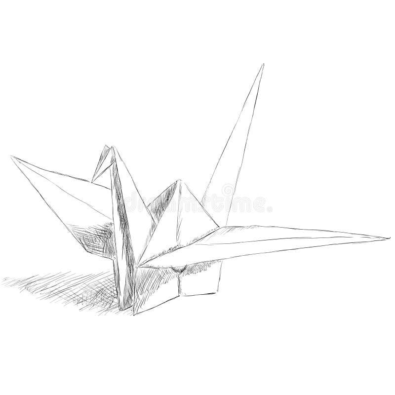 Origami paper bird vector illustration