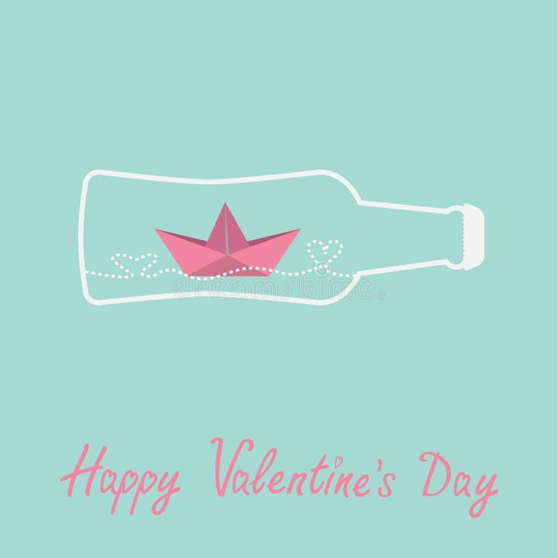 Origami paper boat and heart wave inside beer. Bottle. Valentines day card. Vector illustration royalty free illustration