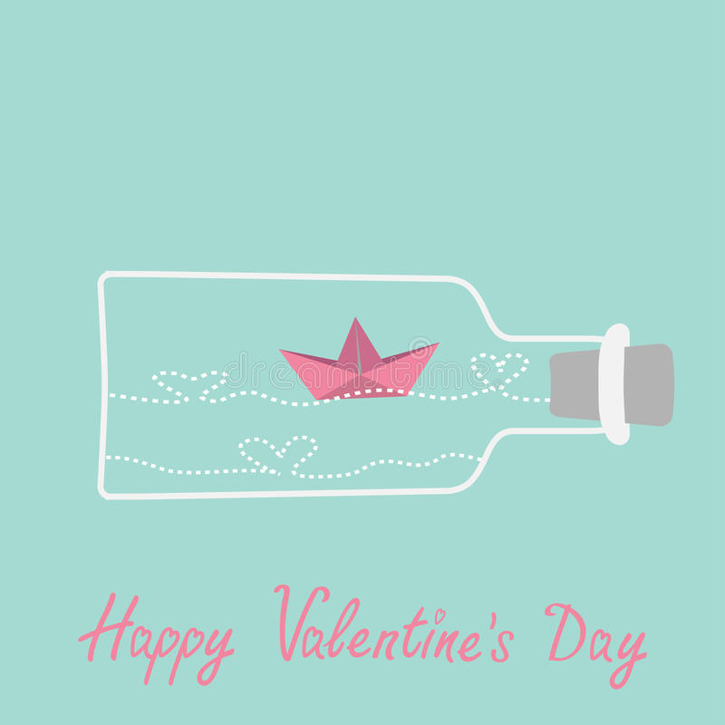 Origami paper boat and heart wave inside wine. Bottle. Valentines day card. Vector illustration royalty free illustration