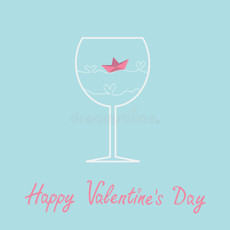 Origami paper boat and heart wave inside wine. Glass. Valentines day card. Vector illustration stock illustration