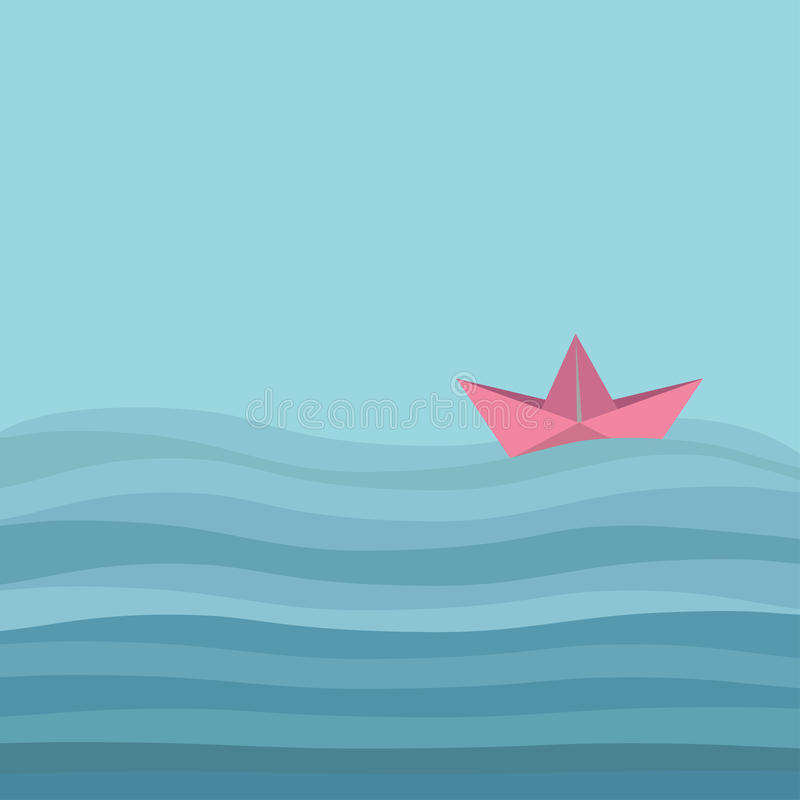 Origami paper boat and ocean sea waves. Flat design Love card royalty free illustration