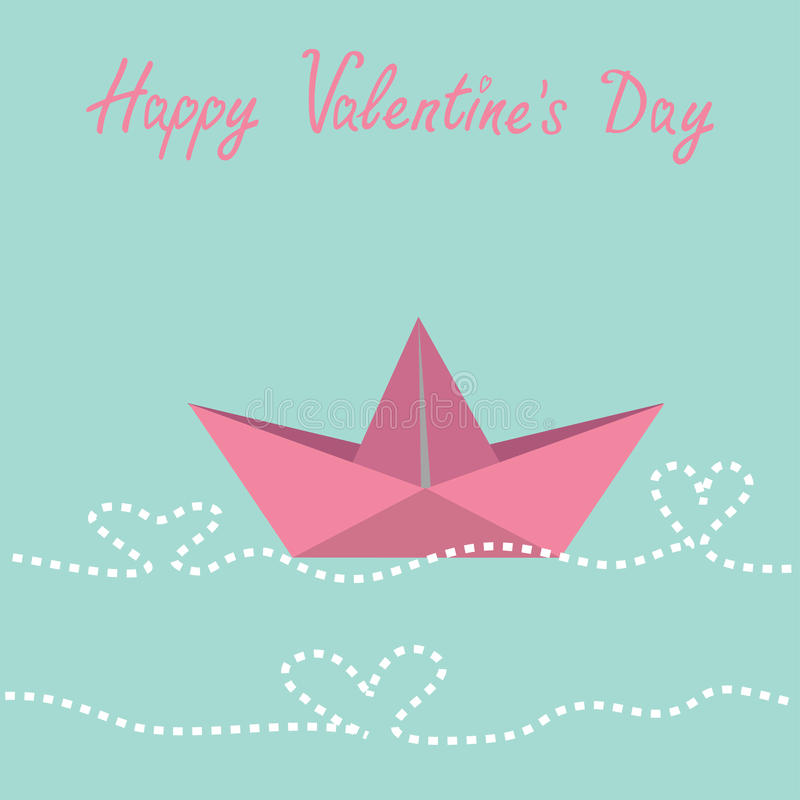 Origami paper boat and waves in shape of heart. H. Appy Valentines day card. Vector illustration stock illustration