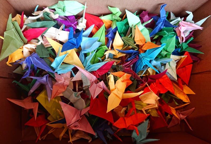Origami Paper Cranes in Hong Kong stock image