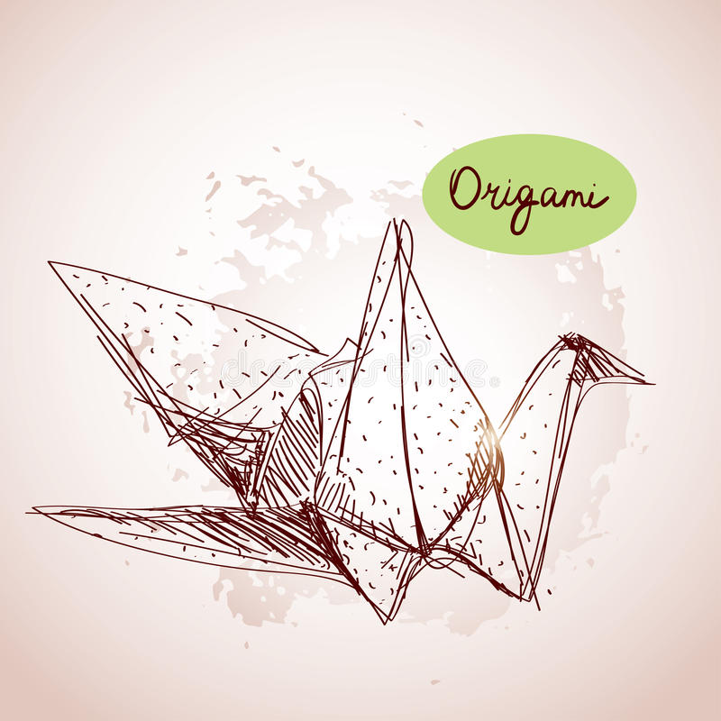 Origami paper cranes sketch. line on beige background.Grunge tex. Ture. Vector paint; grunge backgrounds vector illustration