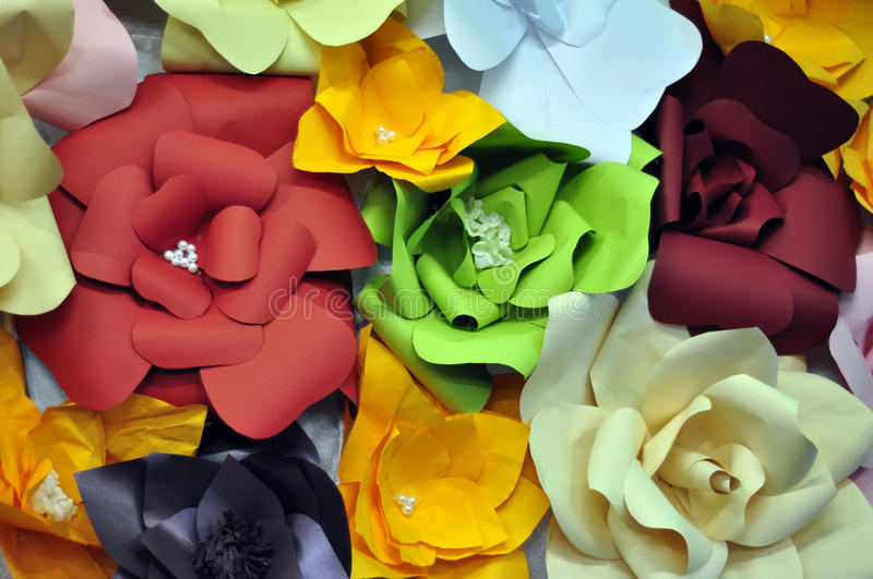 Origami paper flowers collage royalty free stock images