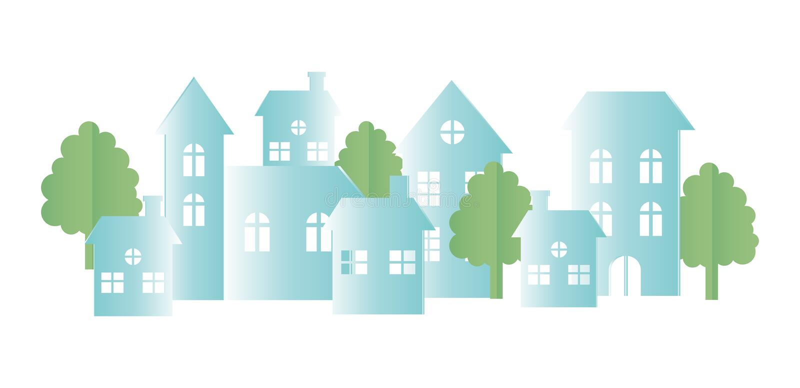 Origami paper houses neighborhood town trees. Gradient vector illustration stock illustration