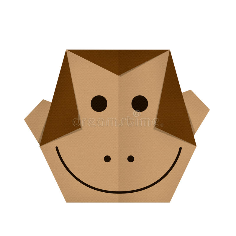 Download Origami Paper A Monkey Face Stock Image