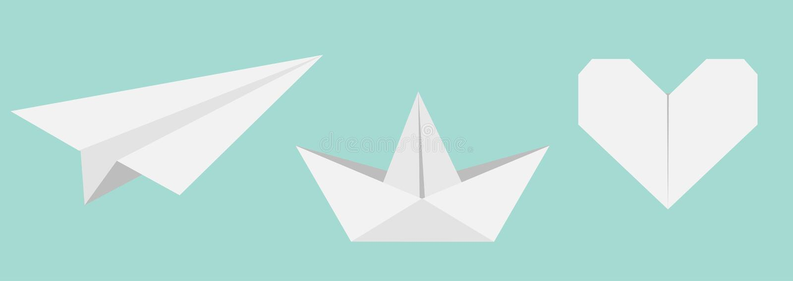 Origami paper plane, boat ship, heart icon set. Gray color. Handmade toy line. Flat design. Cute love symbol. Blue background. Isolated. Vector illustration vector illustration