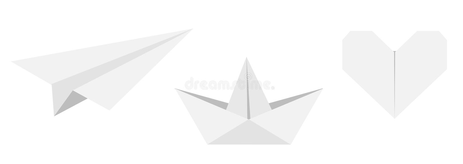 Origami paper plane, boat ship, heart icon set. Gray color. Handmade toy line. Flat design. Cute love symbol. White background. Isolated. Vector illustration royalty free illustration