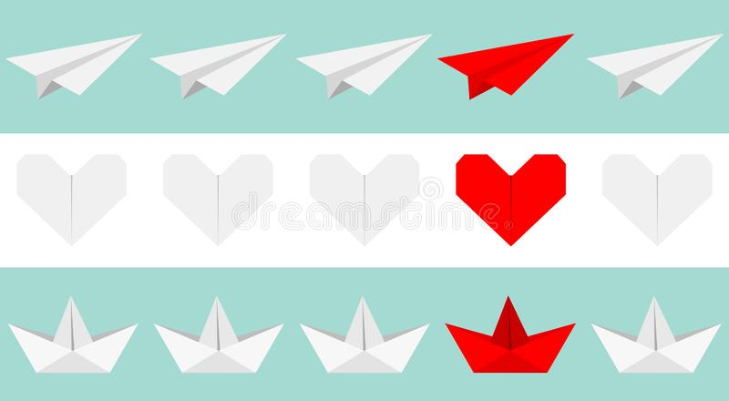 Origami paper plane, boat ship, heart icon set. Gray and red color. Handmade toy line. Flat design. Blue white background. Isolated. Vector illustration vector illustration