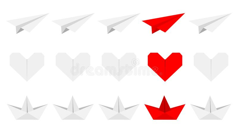 Origami paper plane, boat ship, heart icon set. Gray and red color. Handmade toy line. Flat design. White background. Isolated. Vector illustration vector illustration