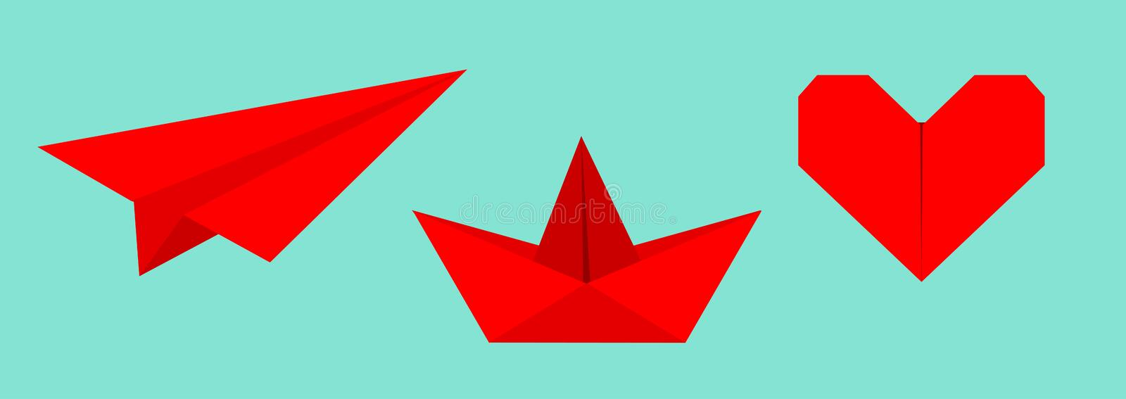 Origami paper plane, boat ship, heart icon set. Red color. Handmade toy line. Flat design. Cute love symbol. Blue background. Isolated. Vector illustration stock illustration