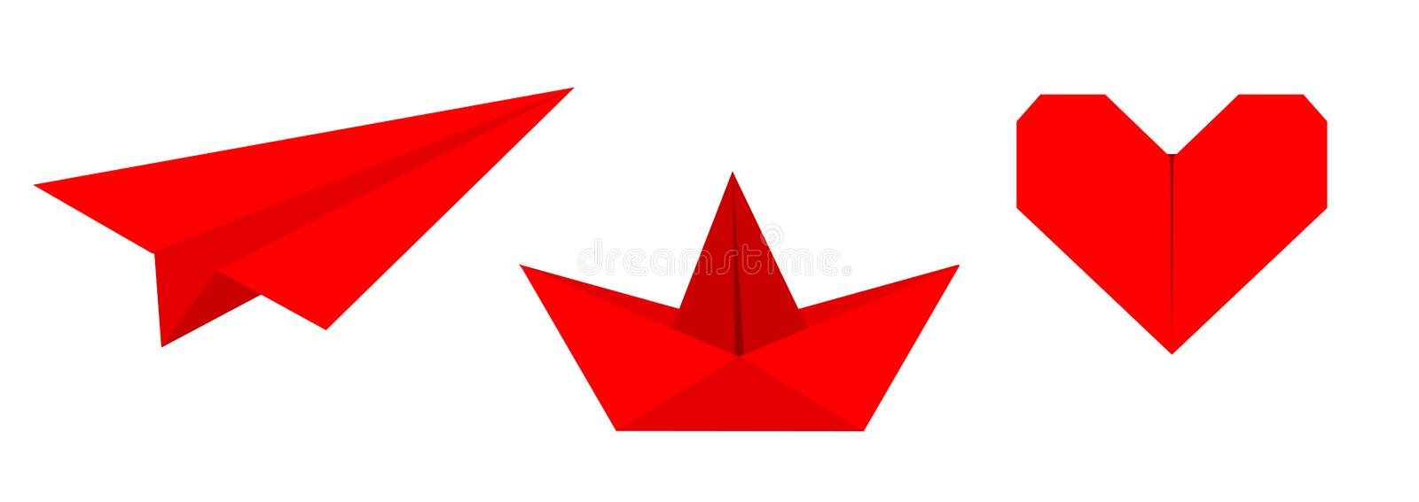 Origami paper plane, boat ship, heart icon set. Red color. Handmade toy line. Flat design. Cute love symbol. White background. Isolated. Vector illustration vector illustration