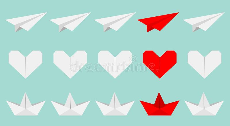 Origami paper plane, boat ship, heart icon set. White and red color. Handmade toy line. Flat design. Blue background. Isolated. Vector illustration royalty free illustration