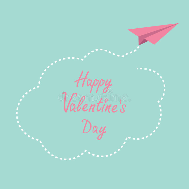 Origami paper plane. Dash cloud in the sky. Happy. Valentines day card. Vector illustration royalty free illustration
