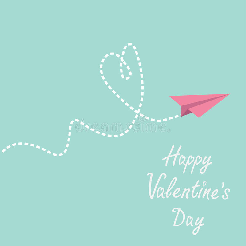 Origami paper plane. Dash heart in the sky. Happy. Valentines day card. Vector illustration royalty free illustration