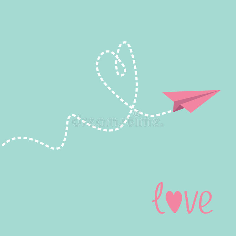 Origami paper plane. Dash heart in the sky. Love card. Vector illustration royalty free illustration