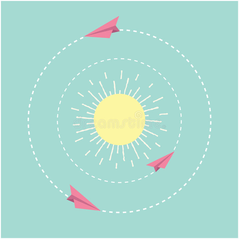 Origami paper plane and sun. Dash line circle. Flat design. Vector illustration royalty free illustration
