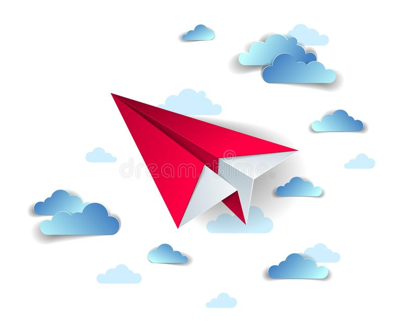 Origami paper plane toy flying in the sky with beautiful clouds, perfect vector illustration of scenic cloudscape with toy jet. Take off, airlines air travel vector illustration