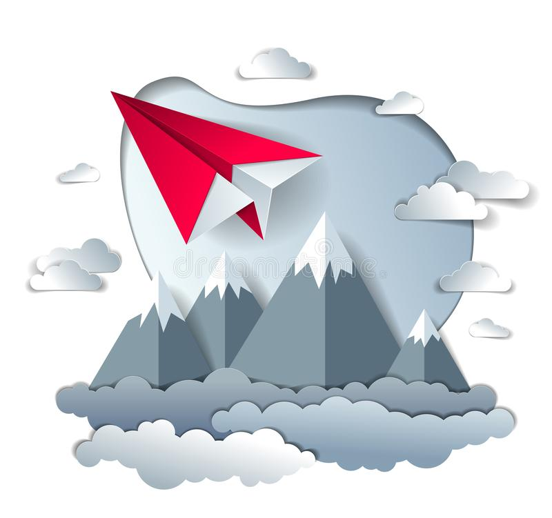 Origami paper plane toy flying in the sky over mountain peaks, perfect vector illustration of scenic nature landscape with toy jet. Take off mountain range vector illustration