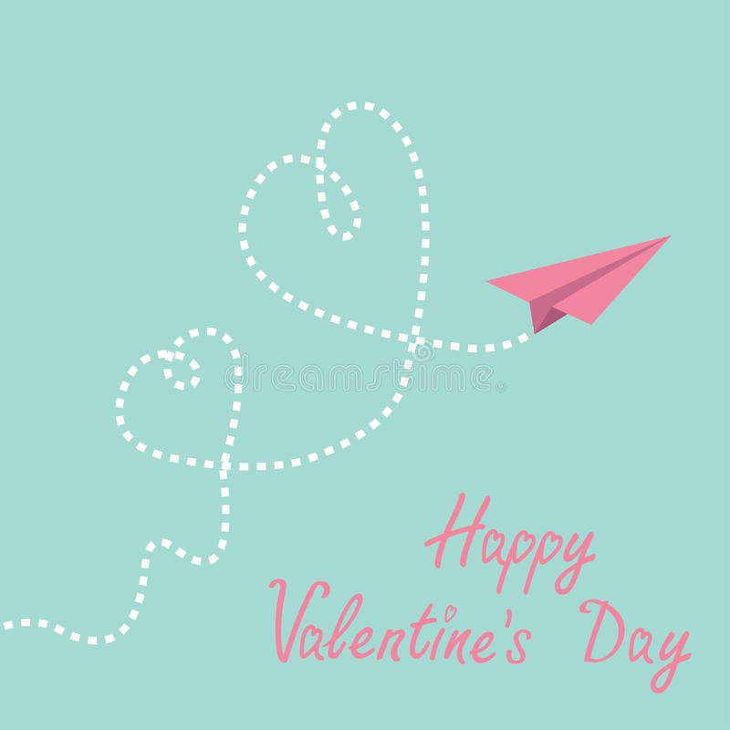 Origami paper plane. Two dash heart in the sky. Ha. Ppy Valentines day card. Vector illustration royalty free illustration