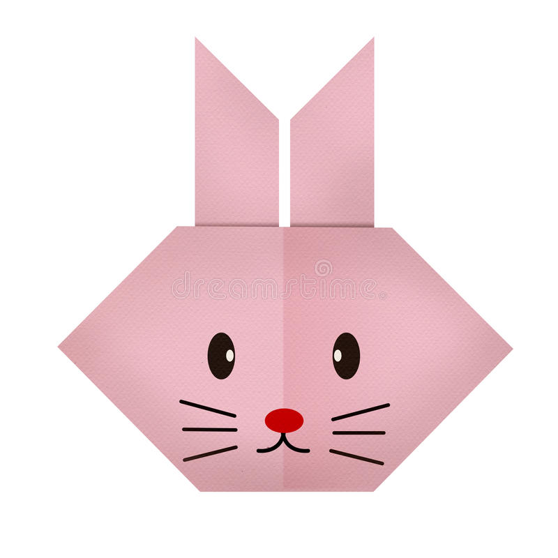 Download Origami Paper A Rabbit Face Stock Image