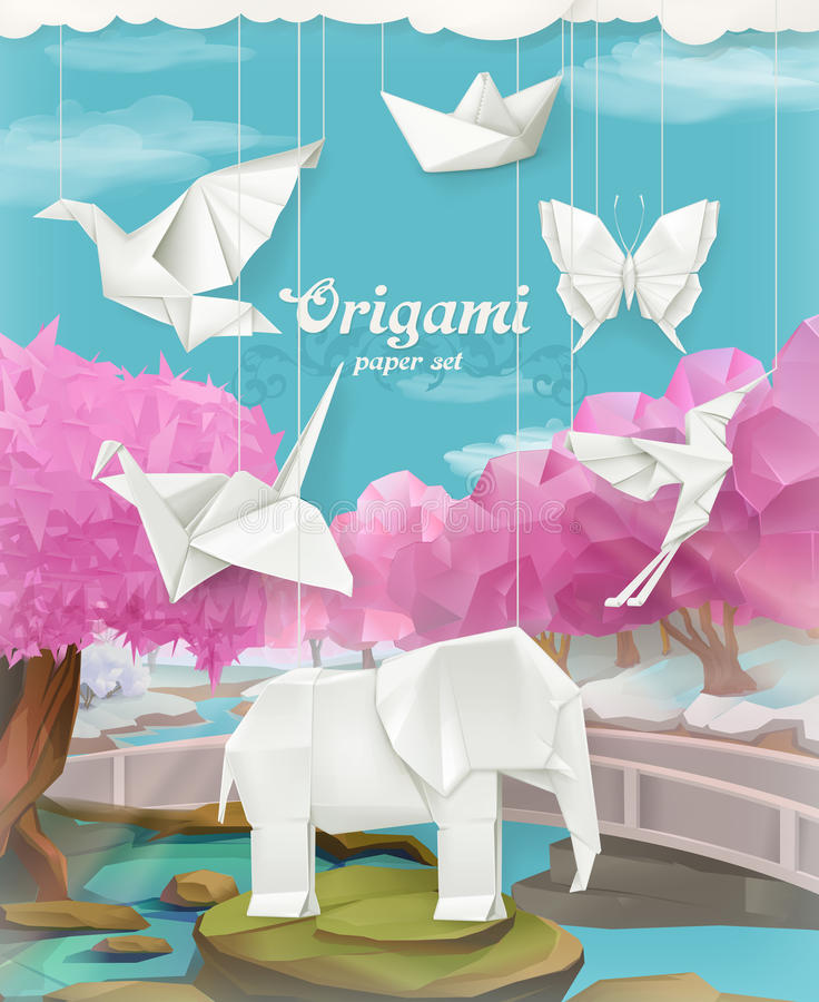 Origami paper set. Vector background with animals stock illustration