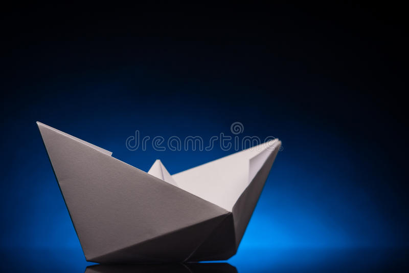 Origami paper ship stock photos
