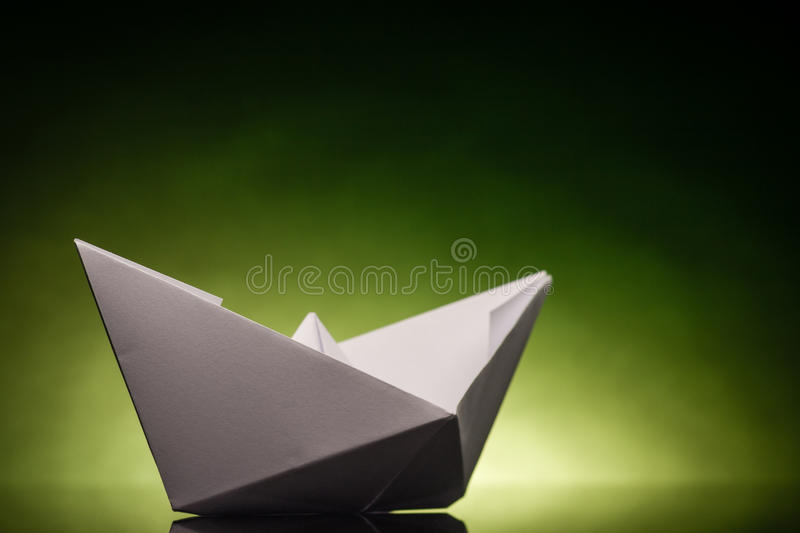 Origami paper ship stock photography