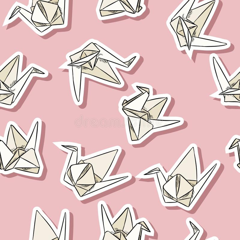 Origami paper swan hand drawn stickers seamless pattern in pastel colors. Origami paper swan hand drawn labels seamless pattern stock illustration