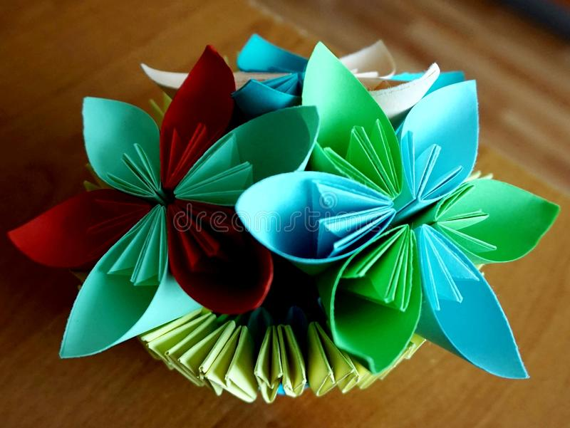Origami A Paper Vase With Flowers Stock Image Image Of Holiday