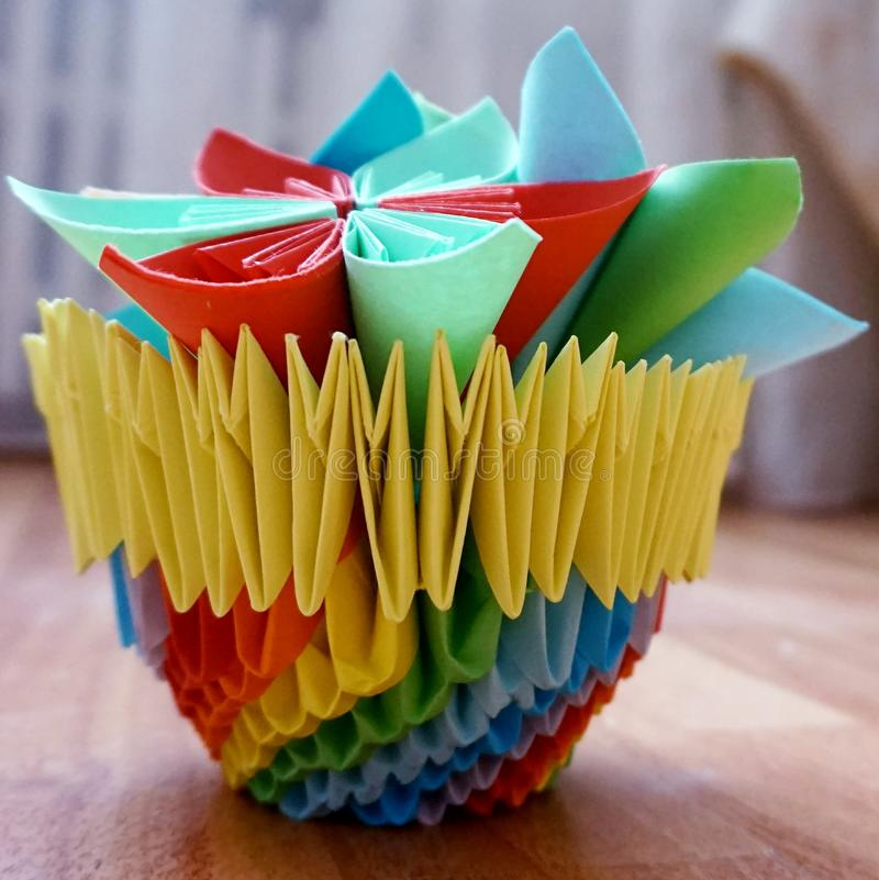 Origami A Paper Vase With Flowers Stock Photo Image Of Articles