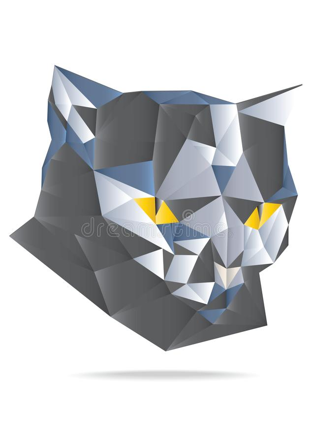 Origami paper vector cat head illustration isolated on white background. royalty free illustration
