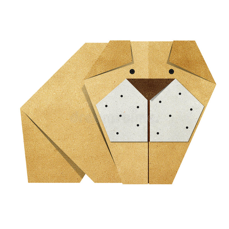 Origami Papercraft recicl buldogue imagem de stock