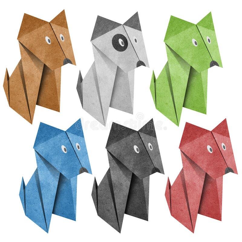Origami Papercraft recicl cão fotografia de stock