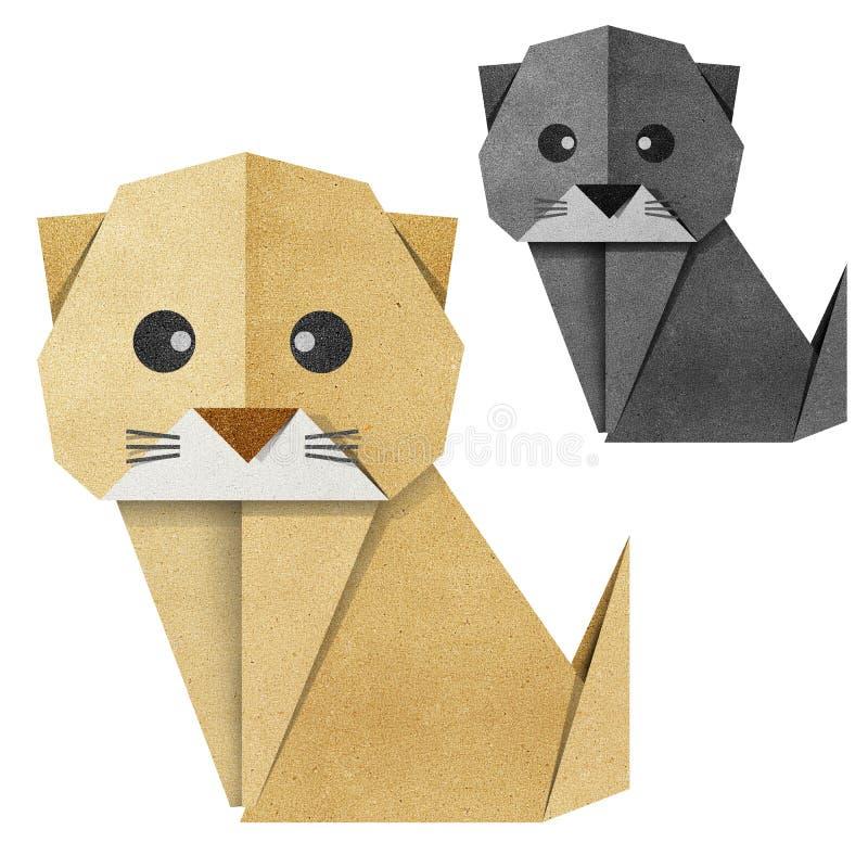 Origami Papercraft recicl gato ilustração do vetor